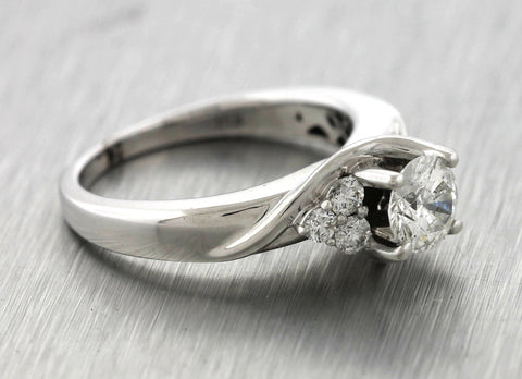 Ladies Vintage Estate 14K White Gold 0.93ctw Diamond Engagement Ring
