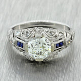 1920s Antique Art Deco Solid Palladium 1.30ct Old European Diamond Ring EGL