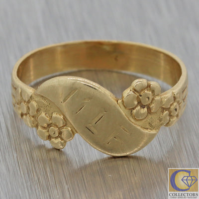 1880s Antique Victorian Estate 14k Yellow Gold 7mm Wide Band Ring F8