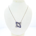 1880s Antique Victorian 14k Gold Silver 3ctw Sapphire Diamond Pendant Necklace N8