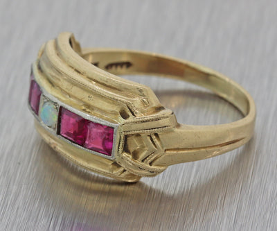 1930s Antique Art Deco Estate 14k Yellow Gold Opal Ruby 10mm Wide Band Ring F8