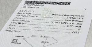 3.17ct GIA Certified Pear Shape Brilliant Cut F VVS Natural Modern Loose Diamond
