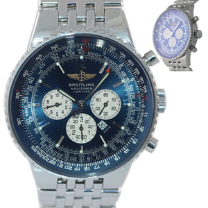MINT Breitling Navitimer Heritage A35350 Blue Stainless Chronograph 43mm Watch
