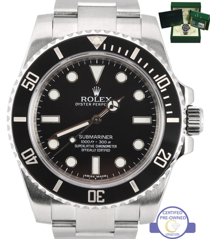 MINT Rolex Submariner No-Date 114060 Stainless SEL Black Ceramic 40mm Watch