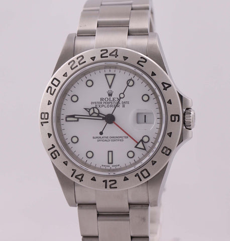 2005 Rolex Explorer II 16570 Steel White Polar GMT 40mm SEL No Holes D Watch N8