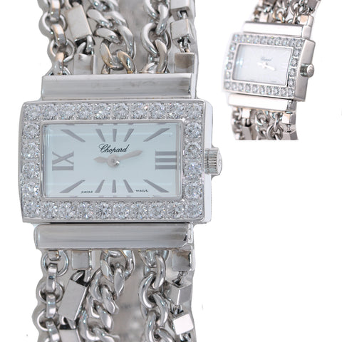 Ladies Chopard Classique 18k White Gold 7301 Diamond Bezel 29mm Quartz Watch