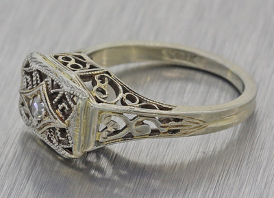 1930s Antique Art Deco Filigree Solid 18k White Gold .04ct Solitaire Diamond Ring F8
