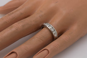 Ladies 14K White Gold 0.77ctw Channel Set Diamond Wedding Anniversary Band Ring