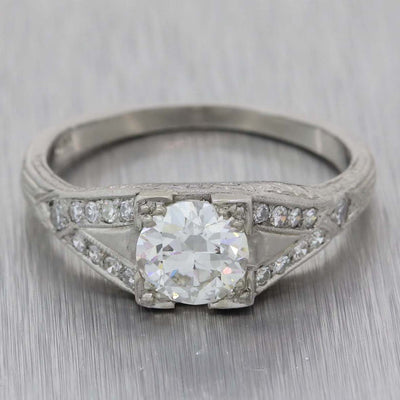 1930s Antique Art Deco Platinum .95ctw Old European Diamond Engagement Ring EGL A8 PL