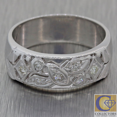 1930s Antique Art Deco Estate 14k White Gold .20ct Diamond 6mm Wide Band Ring F8