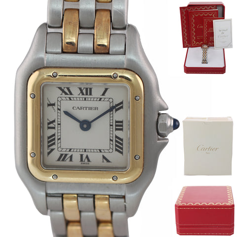 Ladies Cartier Panthere 18K Two Tone Gold Steel 22mm Quartz Watch 1120 Box Paper