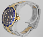 2007 Rolex Submariner 16613 Two-Tone GOLD BUCKLE Blue Z Date Dive 40mm Watch SEL