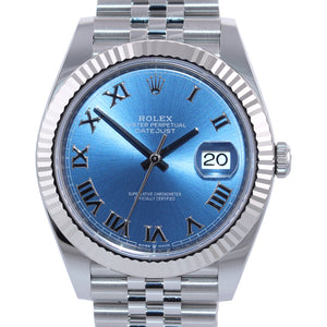 NEW CARD PAPERS Rolex DateJust 41 Azzuro Blue Roman Jubilee Fluted 126334 Watch