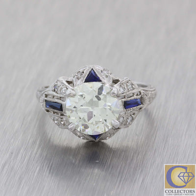 1930s Antique Art Deco Platinum 2.11ct Diamond Sapphire Engagement Ring EGL A8 PL