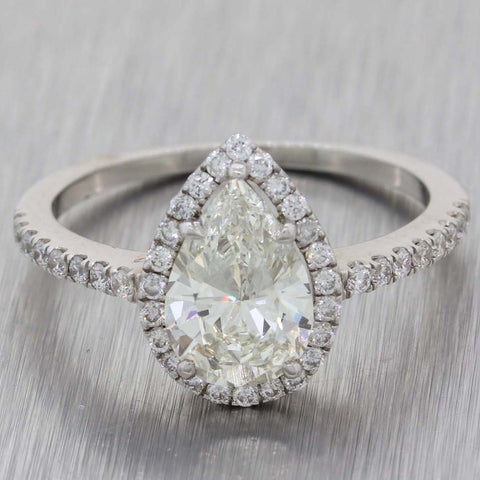 Modern 14k White Gold 1.37ct Pear Shape Diamond Halo Engagement Ring EGL A8 PL