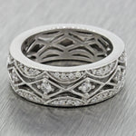 Modern 14k Solid White Gold .80ctw Diamond 7mm Wide Wedding Band Ring $2500