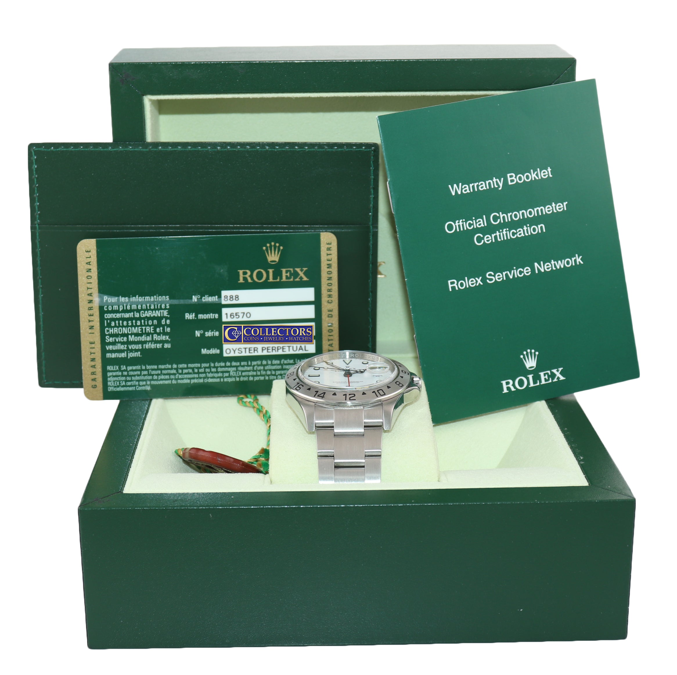 2008 PAPERS Rolex Explorer II 16570 Polar White Dial Steel 40mm 3186 Watch Box