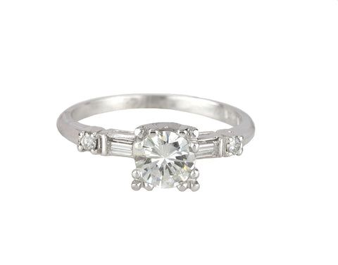 Women's Antique Estate Platinum 0.80 CT Diamond Fishtail Setting Engagement Ring