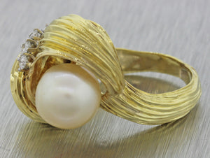 1970s Vintage Estate 18k Solid Yellow Gold Pearl .25ctw Diamond Cocktail Ring