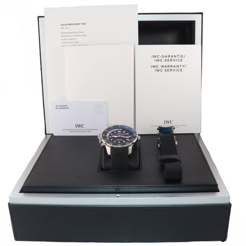 2014 PAPERS IWC Aquatimer Deep Two 3547-02 Steel Black Date 46mm Dive Watch