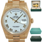 MINT Rolex Day-Date President 18K Yellow Gold White Roman 118238 K Watch w/Box