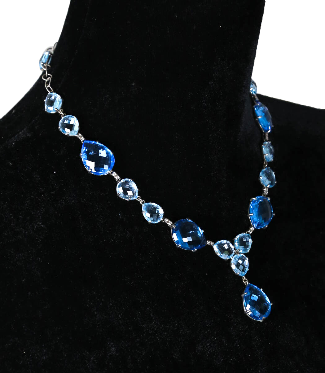 Ladies Anzie 925 Sterling Silver Blue Topaz Gemstone Diamond Dangling Necklace