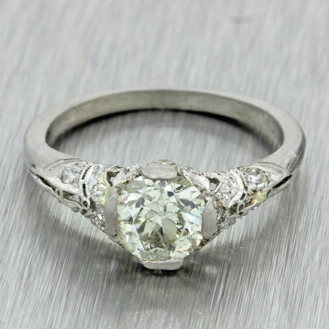 1920s Antique Art Deco Platinum 1.36ctw Old Diamond Filigree Engagement Ring EGL