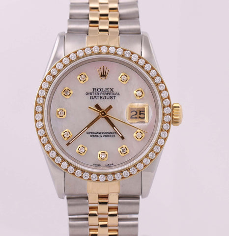 Ladies Rolex DateJust 16013 Diamond MOP 36mm 18K Gold Two Tone Jubilee Watch N8