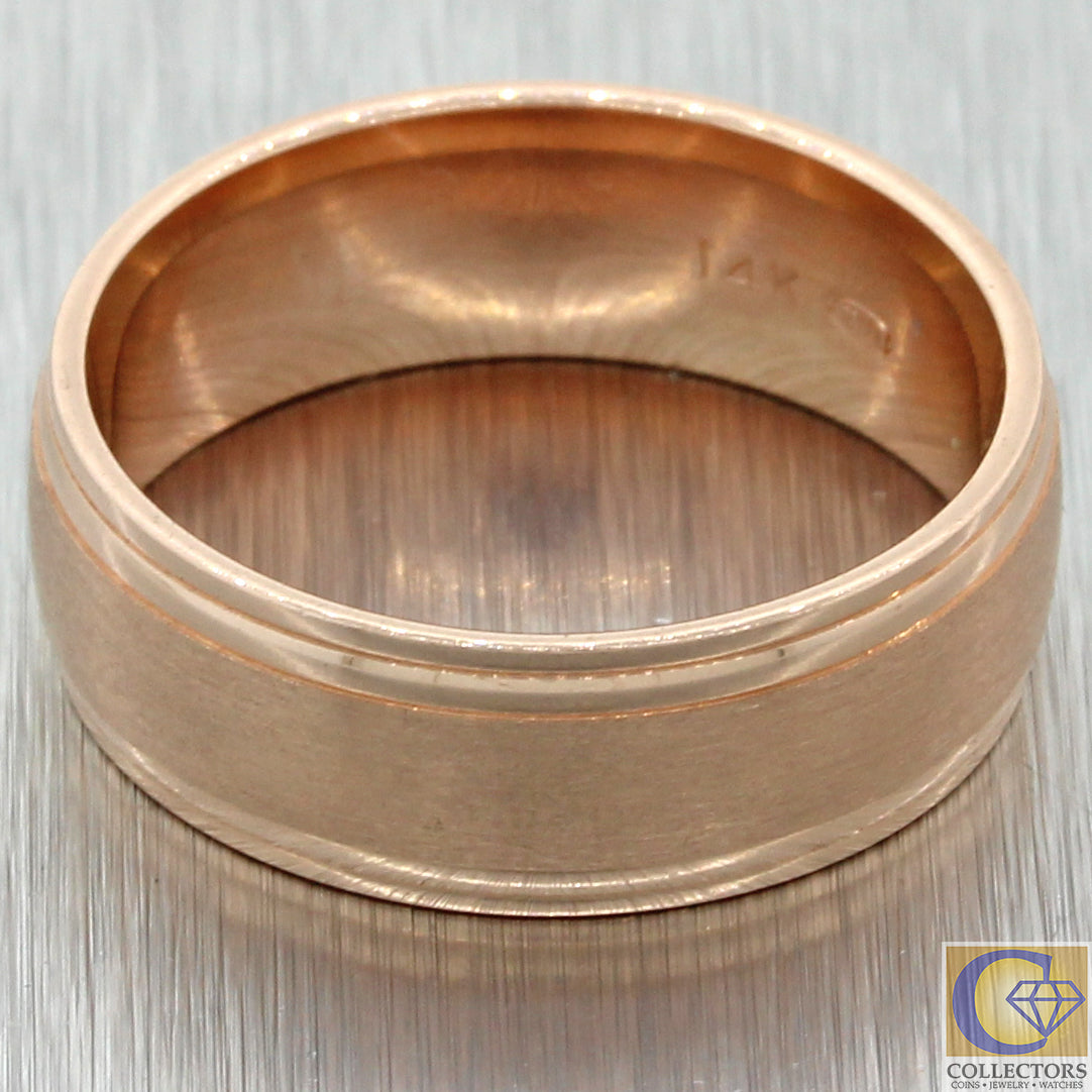 Mens Rose Gold Wedding Band.Mens 14k Solid Rose Gold Wedding Band Ring 7mm 7 7g Size 8 75