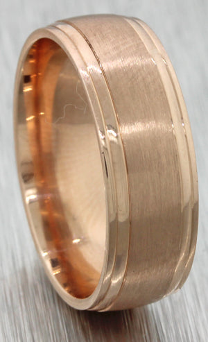Mens 14k Solid Rose Gold Wedding Band Ring 7mm 7.7g size 8.75