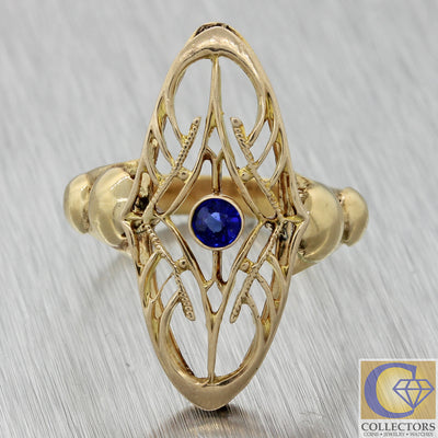 1920s Antique Art Deco Filigree 14k Yellow Gold .10ct Blue Sapphire Ring J8