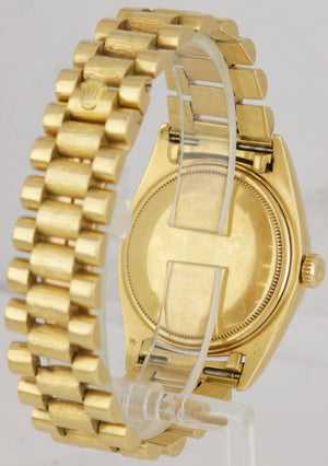 Rolex Day-Date President Pie-Pan Champagne 36mm 18K Yellow Gold Bark Watch 1803