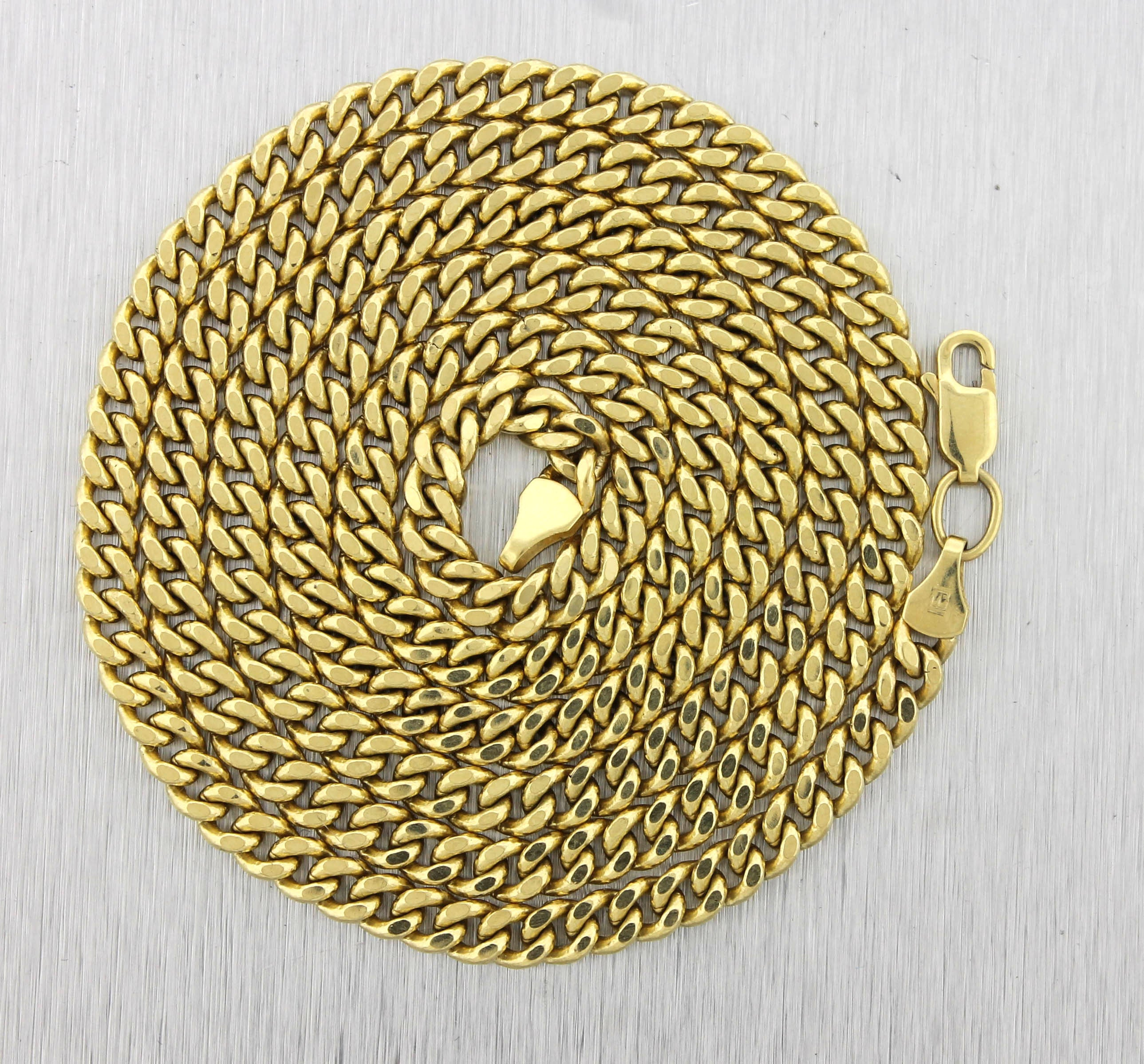"Men's 26.00"" 14K Yellow Gold Curb Cuban Link Chain Necklace 14.1gr"