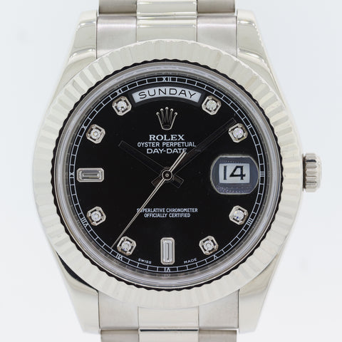 FACTORY DIAMOND Black Rolex Day Date II 218239 41MM 18K Gold President Watch N8