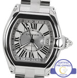 Mint Cartier Roadster XL GMT W62032X6 Silver Roman Automatic Steel Watch 2722
