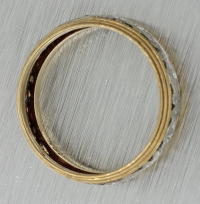 1930s Antique Art Deco 14k Multi Gold Diamond 6mm Wide Wedding Band Ring J8