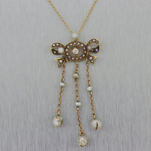 "1890's Antique Victorian 14k Yellow Gold Diamond & Pearl Lavalier 18"" Necklace"