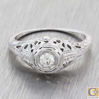 1930s Antique Art Deco Estate 18k White Gold .20ctw Diamond Solitaire Ring A8