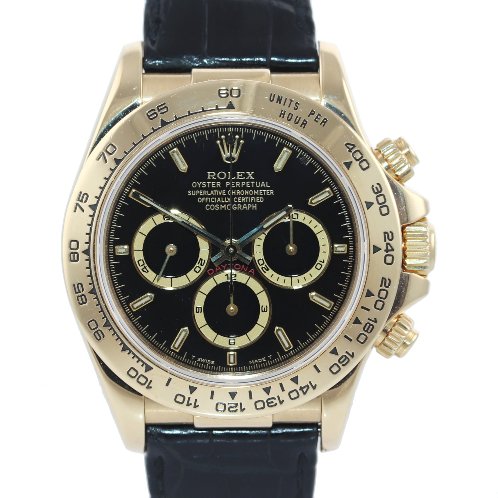 MINT Rolex Daytona Zenith 16518 Black Tritium Dial 18k Yellow Gold Leather Watch