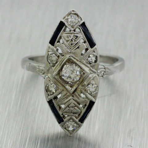 Antique Art Deco 14k Solid White Gold 0.45ctw~ Diamond & Sapphire Cocktail Ring