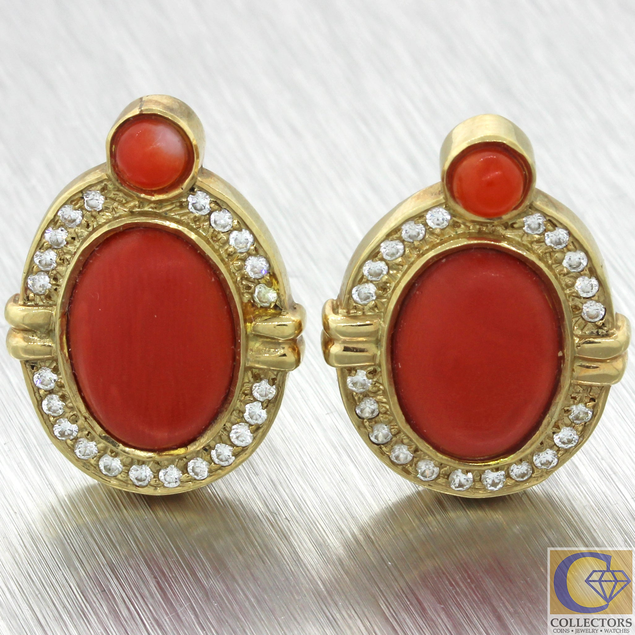 Vintage Estate Solid 14k Yellow Gold Coral CZ Diamond Pierced Omega Back Earrings
