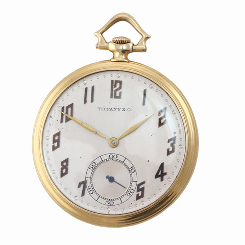 Antique Tiffany & Co IWC Solid 18k Yellow Gold Silver Arabic Swiss Pocket Watch