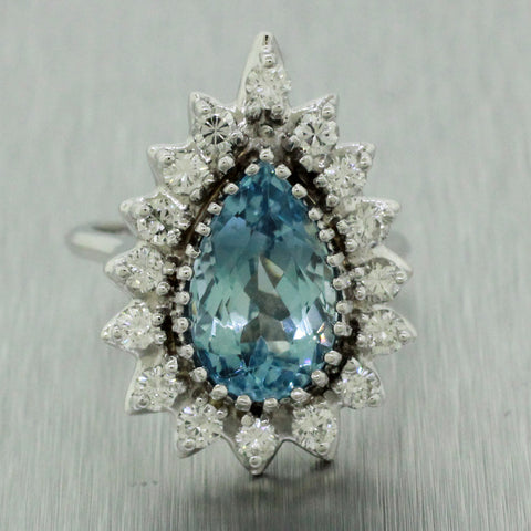 Vintage Estate 14k White Gold 3ct~ Aquamarine & 1ctw~ Diamond Engagement Ring