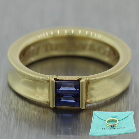 1997 Tiffany & Co. 18k Yellow Gold 0.20ctw Baguette Cut Sapphire Band Ring