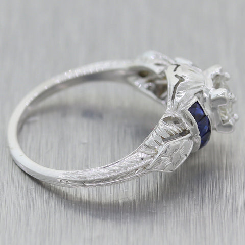 1930s Antique Art Deco 14k White Gold 0.60ctw Sapphire & Diamond Engagement Ring
