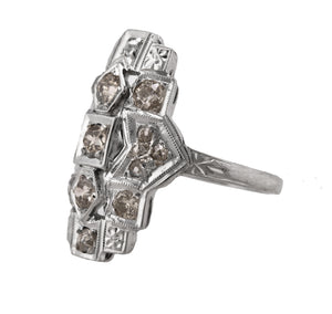 Ladies Antique Art Deco 14K White Gold 0.78ctw Diamond Filigree Cocktail Ring