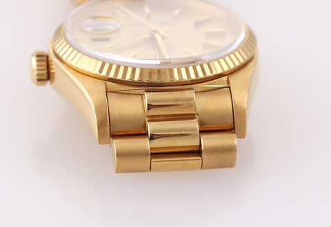 PAPERS UNPOLISHED Rolex Day-Date President 18038 18k Yellow Gold Champagne Dial