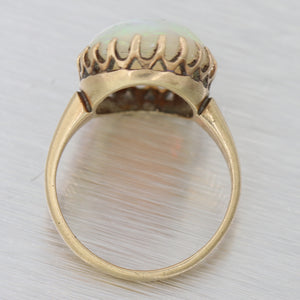 1880s Antique Victorian 14k Yellow Gold 5.13ctw Large Fire Opal Cocktail Ring N8