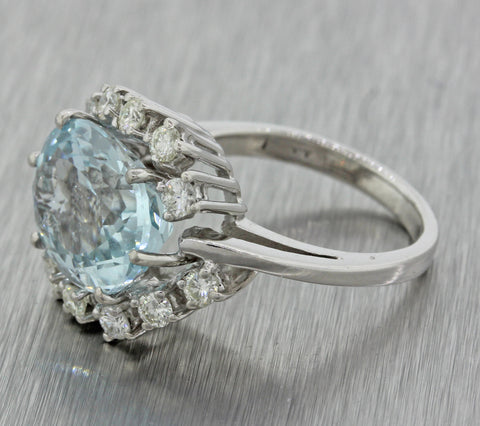 1980s Vintage 14k Solid White Gold Chunky Aquamarine .85ctw Diamond Ring