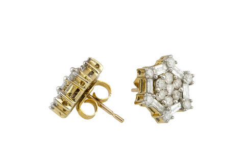 10K Yellow Gold 1.04ctw Round & Baguette Cut Diamond Snowflake Stud Earrings